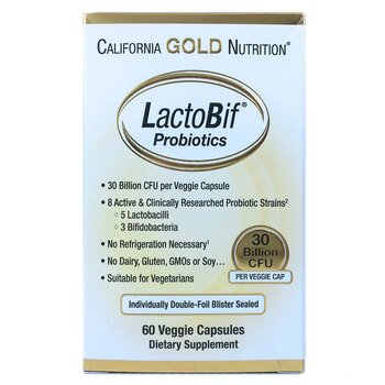 Купить California Gold Nutrition LactoBif Probiotics 30 Billion CFU 6...